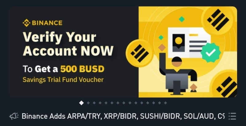 Free Binance 500 BUSD Savings Trial Fund Voucher